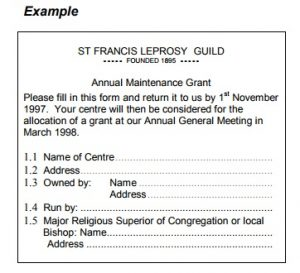 Start of a form entitled St Francis Leprosy Guild Annual Maintenance Grant