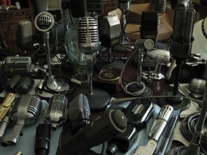 table loaded with microphones