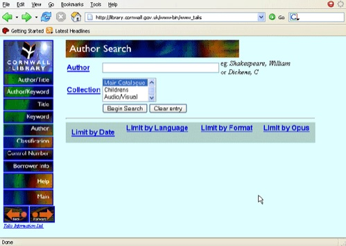 author search form from a library