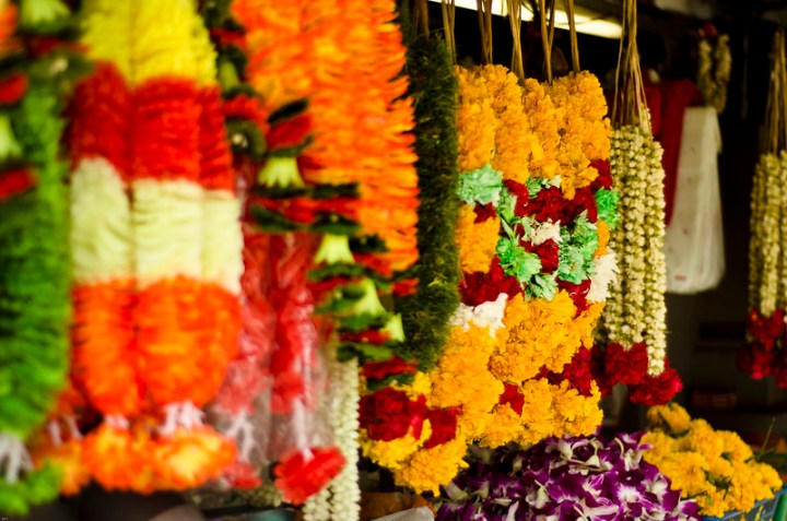 garlands hanging in a market