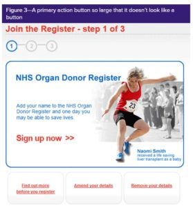 advert to become an organ donor: the whole of the central area featuring a picture and the words sign up now turn out to be a button