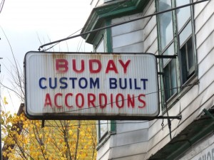 sign reading Buday custom built accordions