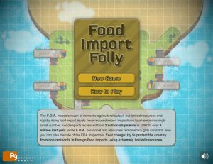 home page of food import folly game