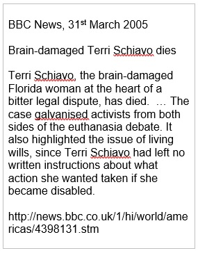 BBC report of death of brain-damaged woman