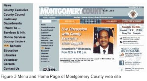 home page of Montgomery county, dominate by news item. Menu hides in margin