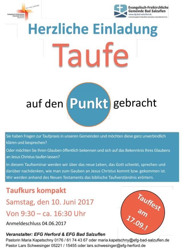Ein Taufkurs startet ab dem 10.06.2017 in der EFG Herford