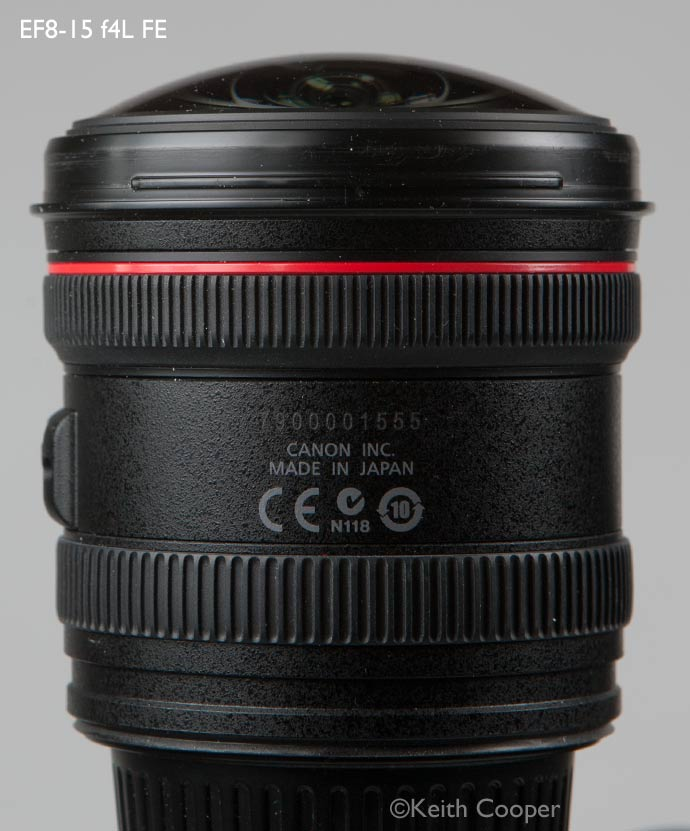 Canon ef8-15 lens showing manufacturing code and serial number
