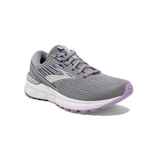 Brooks Adrenaline GTS 19 Women's Running Wide D Grey Lavender Navy 1202841D060