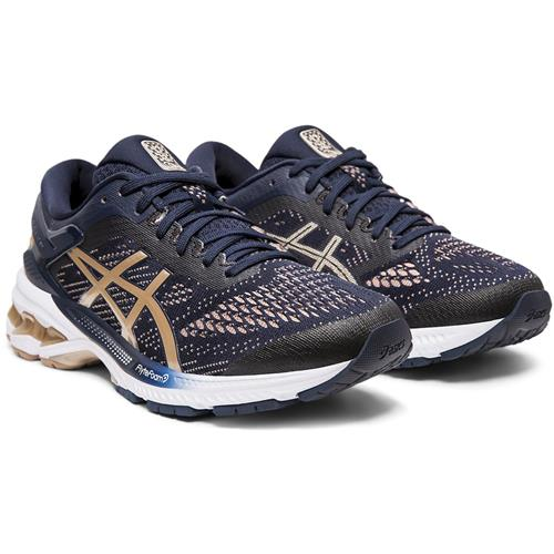 Asics Gel Kayano 26 Women's Running Shoe Midnight Frosted Almond 1012A457 400