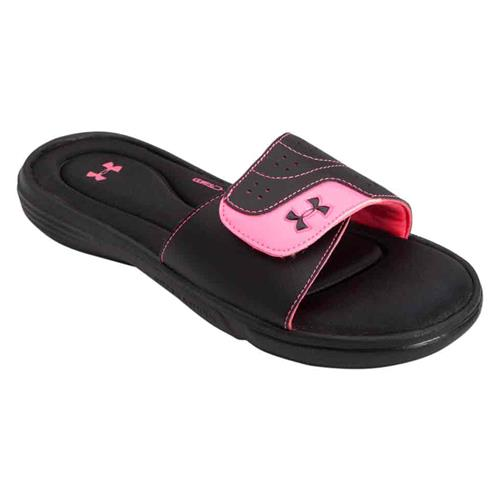 Under Armour Women's Ignite VI Slides in Black Pink 1243714-003