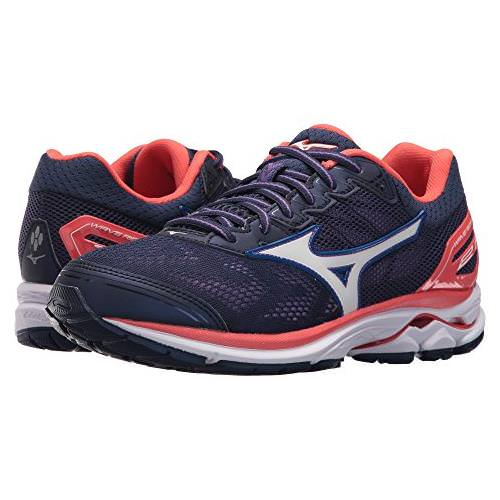 Mizuno Wave Rider 21 Women's Running Patriot Blue White Hot Coral 410974 5I00