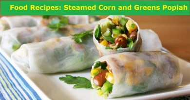 Food Recipes: Steamed Corn and Greens Popiah