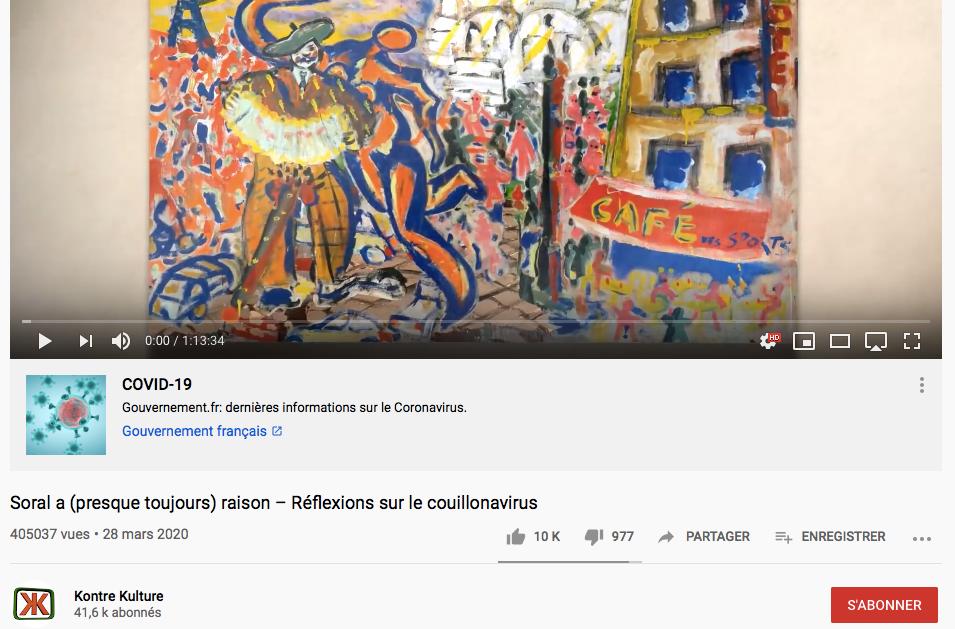 YouTube baisse le nombre de vues de la vidéo d'Alain Soral Réflexions sur le couillonavirus !