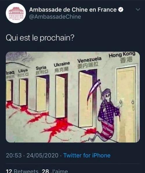 """L'ambassade de Chine en France publie un tweet """"complotiste"""""""