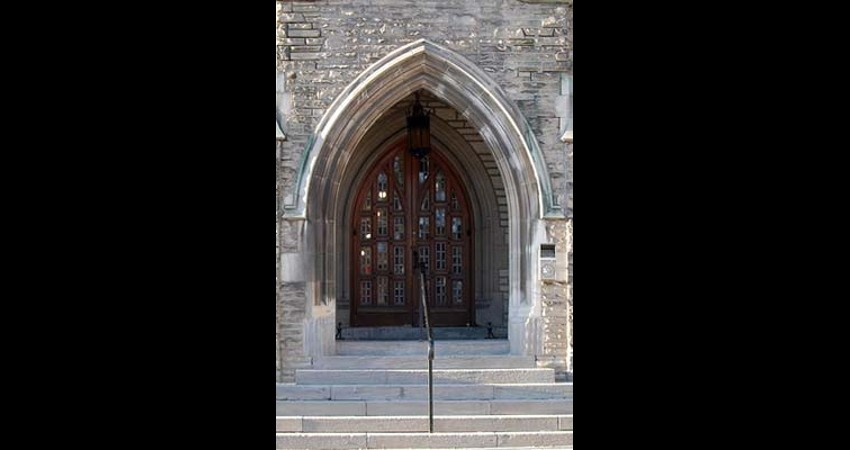 Emmanuel College Victoria University Toronto Ontario - Front door EGD Glass Restoration