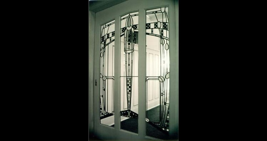 Private Residence High Park Toronto New Work Original Stained EGD Glass Sliding Door