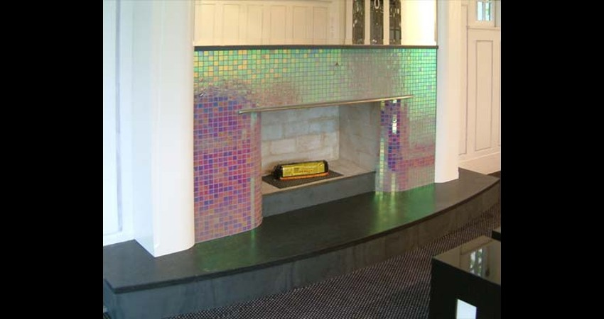 Private Residence High Park Toronto New Work Original Stained EGD Glass Fireplace