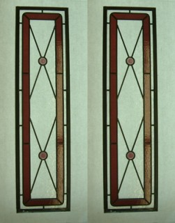 Reclaimed stained glass for sale. EGD Glass. Red leaded door panels.