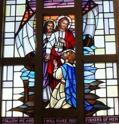 Reclaimed stained glass window for sale, Jesus and the Disciples