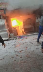 حريق هائل في فرن عيش بجوار مطعم الريس بمنطقة أبو شاهين بالمحلة الكبرى وتم السيطرة على الحريق