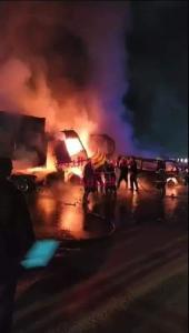 حادث مرعب الآن على الطريق الدائري بحلوان أدى إلى مصرع شخصين وإصابة ٦ آخرين