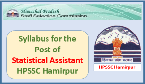 Syllabus for the Post of Statistical Assistant (Planning)-HPSSC Hamirpur