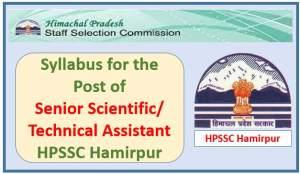 Syllabus for the post of Senior Scientific/Technical Assistant-HPSSC Hamirpur