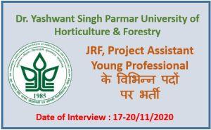 Dr. YSP University Recruitment 2020 : No. of Post -21
