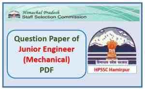 HPSSC Junior Engineer (Supervisory Trainee-Mechanical) Question Paper Pdf