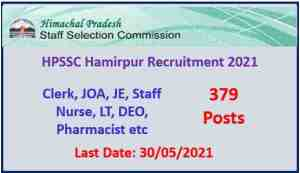 Read more about the article HPSSC Hamirpur Recruitment 2021 : Apply Now
