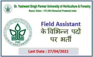 Dr. YSP University Nauni Solan recruitment of  Field Assistant
