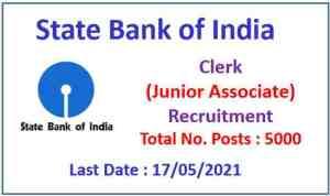 SBI Clerk Recruitment 2021 : Apply Now