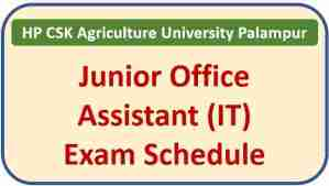 Read more about the article CSK HP Agriculture University Palampur JOA IT Exam Date 2021