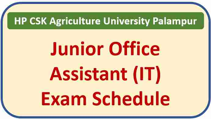 CSK HP Agriculture University Palampur JOA IT Exam Date 2021