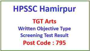 Read more about the article HPSSC TGT (Arts) Post Code : 795 Result 2021