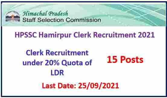 Read more about the article HPSSC Hamirpur Clerk Recruitment 2021 Under LDR Quota