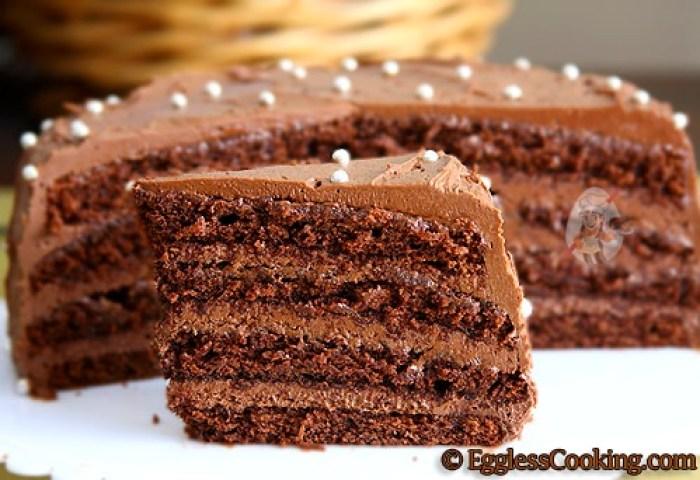 Chocolate Layer Cake Recipe Eggless Cooking