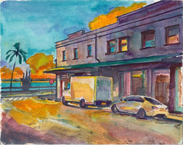 Sunset at Maunakea Street, Honolulu 19 x 24 cm, water color on paper 26-1-2014
