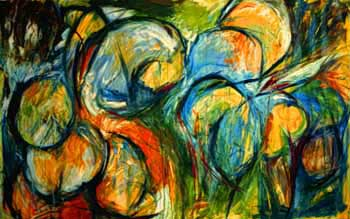 "Interaction VI Oil & acrylic on canvas 72"" x 48"""