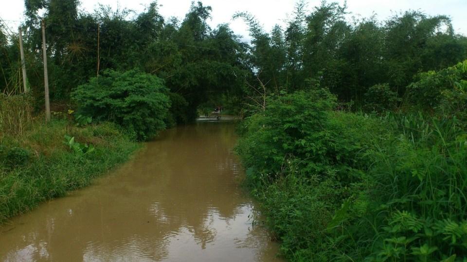回程惠東途中,大雨令村路泛濫,只好另覓路徑。
