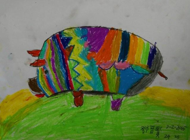 有些同學不畫素描,把豬當成復活蛋去處理。