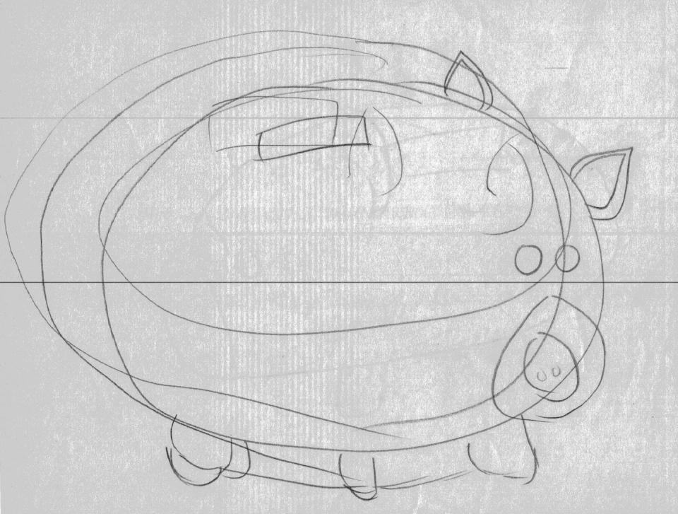 以圓形構圖,以直覺描繪物件。