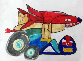 初班學生對天地雙龍完全沒有概念,以漫畫(畫公仔)繪畫。