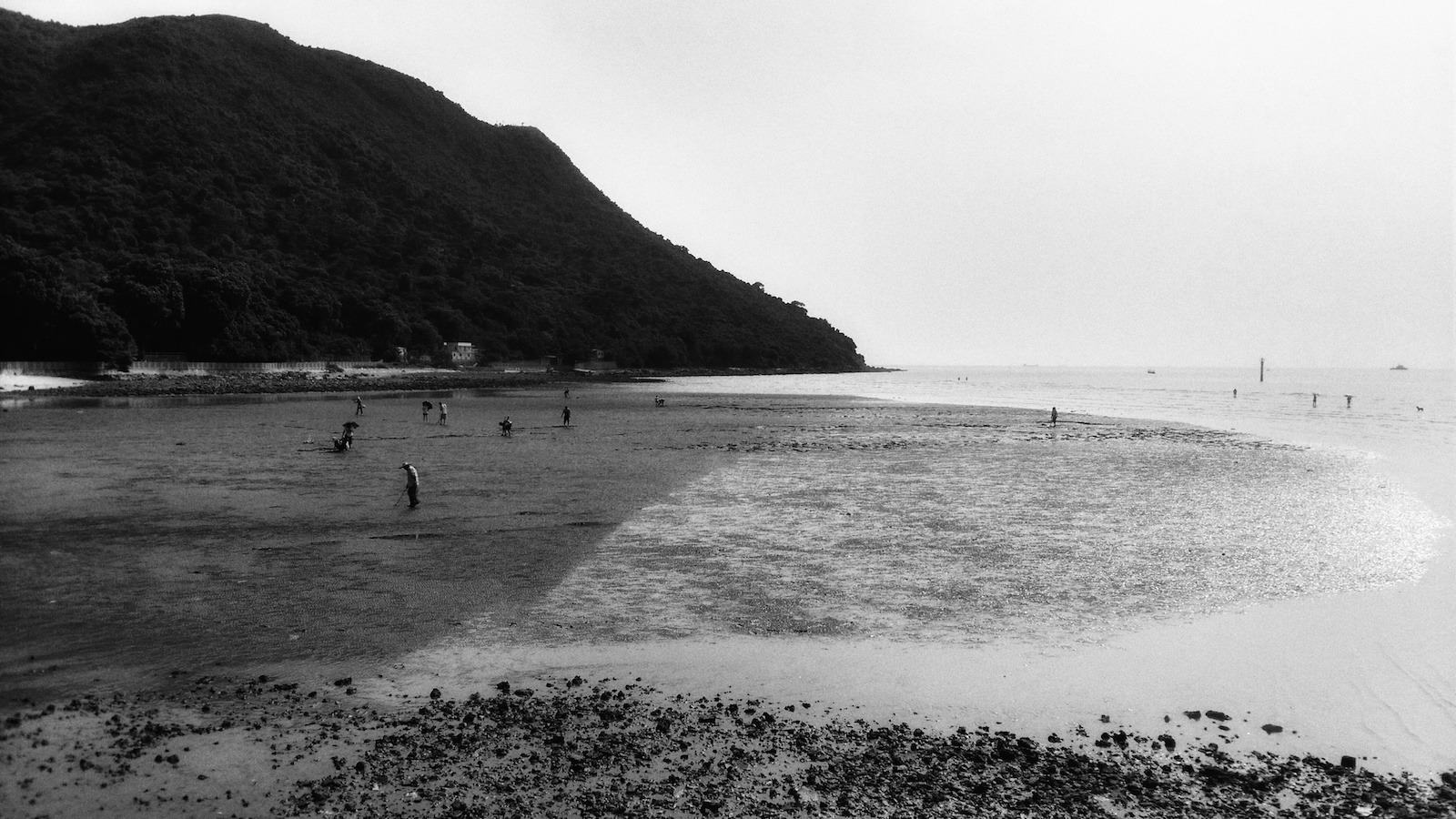 遊人在二澳海邊摸蜆。