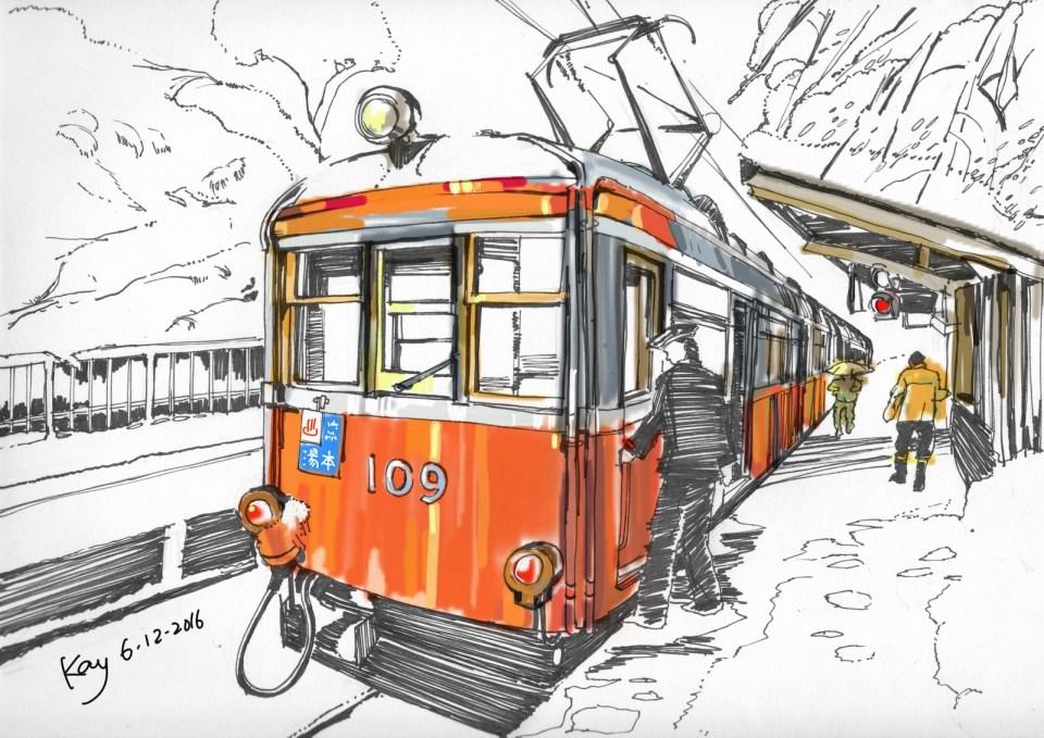 """箱根登山鐵路紀行(モハ1形) Ink pens & tablet canvas 12"""" x 9"""" 5-12-2016"""