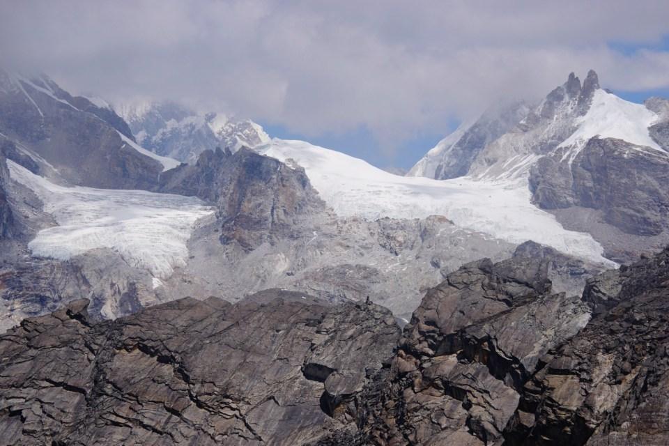 山下的 Ngozumpa 冰川。