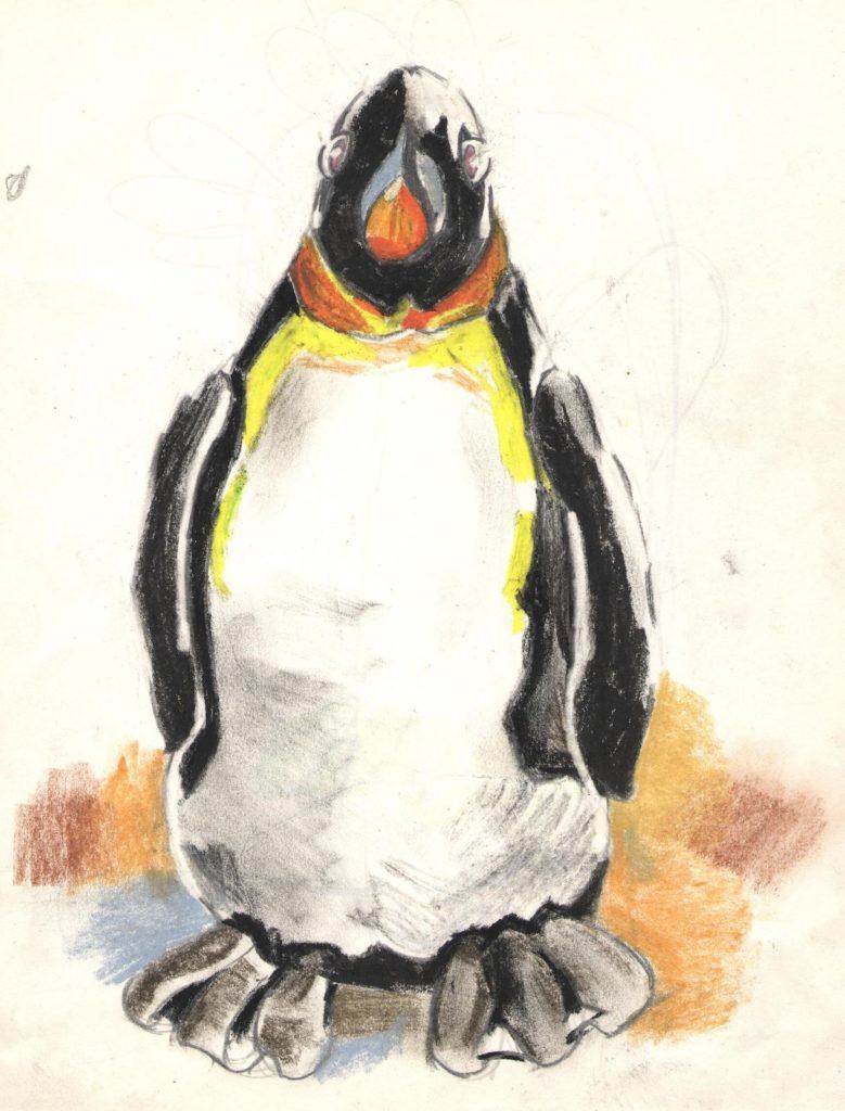 《企鵝公仔》(課堂示範)蠟筆 A4 2014