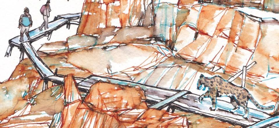 用油性筆繪畫木棧道,加水後不化開,保持木棧道清晰輪廓。