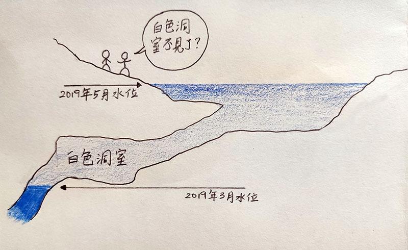 「白色洞室」水位變化示意圖。