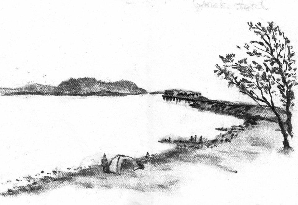 馬鞍山海灘(碳枝)碳枝 38.5cm x 29.4cm 16-4-2020